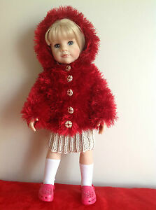 """Dolls Fashion clothes knitting  pattern for 18"""" doll.EASY KNIT hooded coat.KNM71"""