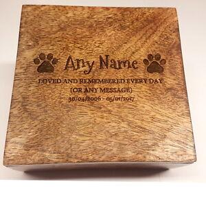 Engraved Pet Urn Ashes Pet Box Dog Urn Cat Urn Personalised Casket Mango Wood
