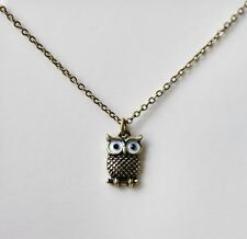 Bronze Mini Owl Necklace Pendant Necklace Girls Womens Jewellery Gift