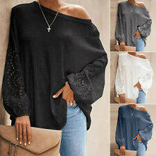 UK Women's Hollow Up Long Sleeve Pullover Slash Neck Blouse Casual Tops T-shirt