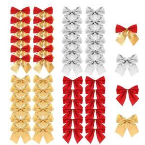 48 Pezzi Fiocchi di Nastro Natalizio Ornamenti Albero di Natale Decorazione R7X3