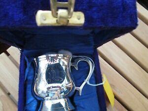 Vintage EPNS CHRISTENING MUG Tankard CUP marked E.P.N.S 7cm tall.presentation bo