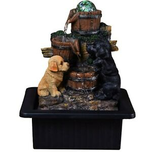 Playful Pups Indoor Water Fountain With Multi Colour LED Lights Mains Or USB