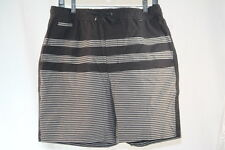 HURLEY BLACK GRAPHIC SWIM / SURF / BOARD SHORTS GRAY STRIPES GRAPHICS size Large