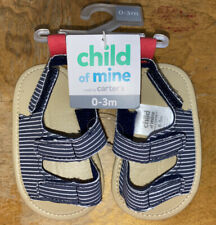 *New Carters Infant Girls Shoe- Sandals, Blue White Striped- Size 0-3 Months