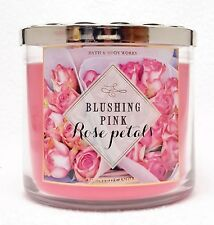 Bath & Body Works BLUSHING PINK ROSE PETALS Large 3-Wick Candle PARIS STREETS