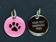 Engraved Dog Tag, Pet ID Tag, Dog Disc. Chrome/ Glitter 25mm FREE POSTAGE