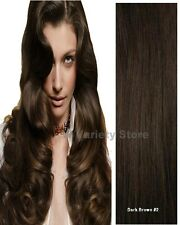 MEGA THICK DELUX FULL HEAD CLIP IN REMY HUMAN HAIR EXTENSIONS DARK BROWN #2