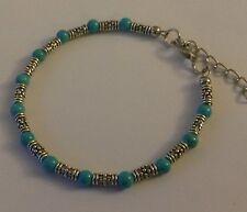 CB01 Adjustable Tibetan silver bracelet with turquoise beads GIFT BOXED Plum UK