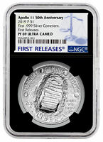 2019 P Apollo 11 50th Anv Commemorative Silver Dollar NGC PF69 FR Black SKU57267