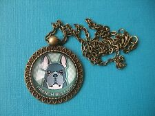 French Bulldog Necklace & Pendant Glass Metal Chain Bronze Tone Dog Turquoise