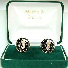 2003 IRELAND cufflinks made from  IRISH COINS in black & gold