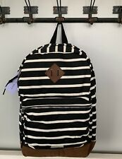 NWT Steve Madden Girl Black White Striped Canvas Backpack RP $54 MG-3877