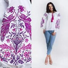 Ukrainian Embroidered Blouse for women. Pink bird. Tradition shirt Size XS-XXL