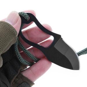 1X Hot Mini Pocket Finger Paw Self-Defence Survival Fishing Neck Knife + Sheath