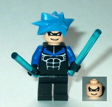 BATMAN #14D Lego Nightwing w/battle bars Blue Spiked Hair NEW Genuine Lego Parts
