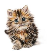 Kitten cat fractal cross stitch chart also available as A4 glossy print