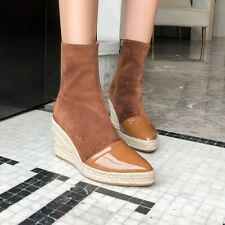 Womens Straw Wedge Heel Ankle Boots Platform Pointed Toe Comfy Suede Fabric Shoe