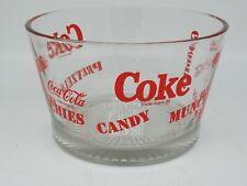 Vintage Coca Cola Coke Collectible Glass Snack Nibbles Pretzels Bowl