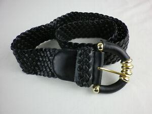 Gürtel Damengürtel schwarz 5 cm 98 cm Kunstleder geflochten Große Schnalle W1579