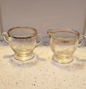 Bartlett Collins Etched Glass Creamer & Sugar Bowl, Grapes And Gold Trim