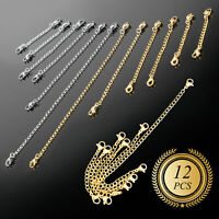 12/24x Extension Jewelry Chains Tail Extender Necklace Bracelet Jewelry Findings
