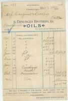 1893 Dendinger Brothers Billhead Pittsburgh Pennsylvania PA Oils Dealer