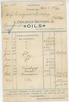 1893 Dendinger Brothers Billhead Pittsburgh Pennsylvania PA Oils Dealer