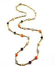 NEW Gorgeous Gameday Blue Orange Charm Pearl Long Necklace