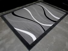 5x8 Grey Gray Contemporary Area Rug with White and Black Swirl Line Design NEW