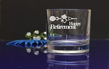 HAPPY RETIREMENT Personalised engraved whiskey glass present gift/DAD GRANDAD