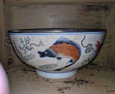 "BIG VINTAGE PORCELAIN JAPAN HAND PAINTED BOWL DECOR ASIAN RARE FISH CRAB 10"""