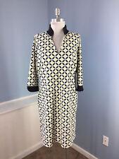 Carol Trotta Catalina Cloth L XL Beige Black Geo Shift dress Work Casual 3/4 slv