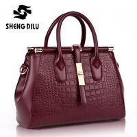 Hi-Q Genuine Leather Crocodile Women's Satchel Handbag Tote Purse Shoulder Bag