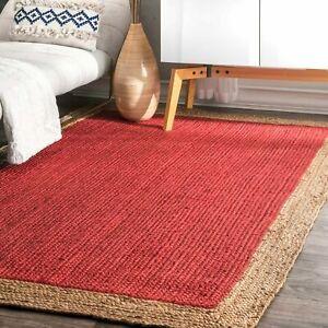 Rug 100% Natural Jute 3X5 Feet Reversible Red Area Dhurrie Carpet Mat Rag Rugs