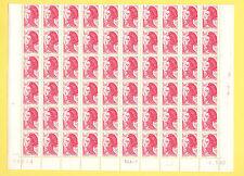 LIBERTE 1,60 F rouge - Demi Feuille horizontale 60 TP du 1/3/82  - gomme mate