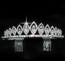 "1 1/4"" Bridal Prom Wedding Veil Crystal Crown Headpiece Pageant Tiara 2446"
