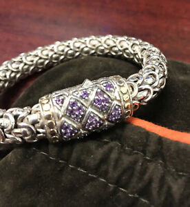John Hardy 10.5mm 99 Grams Naga Sterling 925 & 18K Purple Amethyst Bracelet sz M
