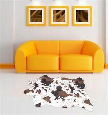 Cowhide Area Rug Tricolor Cowskin Cow Hide Faux Leather Carpet 3.6'x2.5' Mat