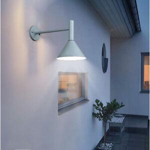Nordic Style Black/Grey Metal Cone Shade Long Arm Waterproof Garden Wall Lights