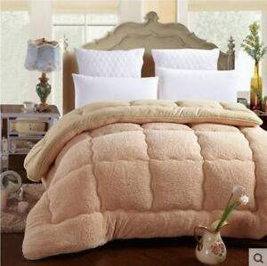 Patchwork Duvet Lamb Wool Warm Comforter Camel Cotton Quilt Thicken Blanket NEW