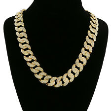 """Mens 14k Gold Plated Hip Hop Fully Cz Iced Out Finish Miami 18mm 24"""" Cuban Chain"""