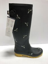 Joules Welly Print Womens Rain Boots Black US8 M