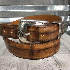 Onyx By Brighton Apline Croco Brown Taper Belt Silver Hardware Western Size 36