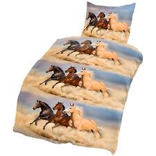 Pferde Bettwäsche 135x200 cm Pferd blau beige Microfaser Set 2 teilig