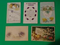 Lot of 5 Old Antique Vintage Postcards 2 German Happy Easter Greetings Chicks