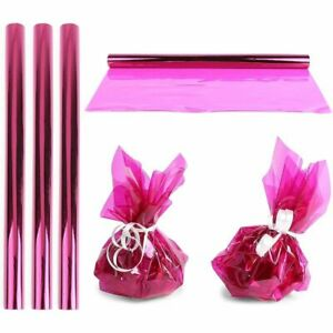 Clear Fuchsia Cellophane Gift Wrapping (17 in x 10 Feet, 4 Pack)