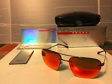NEW Prada Sport LINEA ROSSA PS52RS 5AV5M0 Gunmetal / Brown Orange Mirror Lens