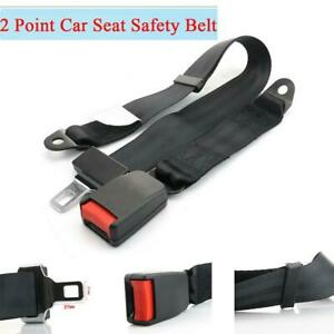 2 Point Retractable Car Safety Seat Belt Lap Black Adjustable Polyester Strap x1