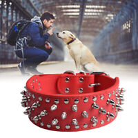 Pet Dog Collar PU Leather Spiked Studded Rivet For Rottweiler Pit Bull Mastiff